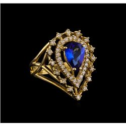 14KT Yellow Gold 1.69 ctw Tanzanite and Diamond Ring