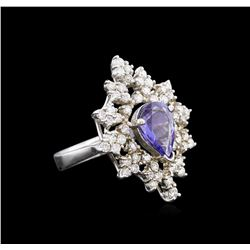 1.87 ctw Tanzanite and Diamond Ring - 14KT White Gold