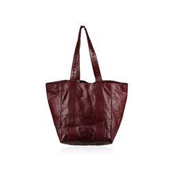 Valentino Garavani Rockstud Handle Burgundy Leather Tote Bag