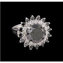 7.64 ctw Black Diamond Ring - 14KT White Gold