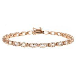 11.71 ctw Morganite and Diamond Bracelet - 14KT Rose Gold