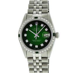 Rolex Stainless Steel 1.00 ctw Diamond and Emerald DateJust Men's Watch
