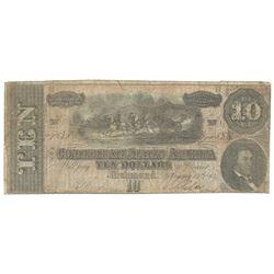 1864 $10 The Confederate States of America Note T-68 CC