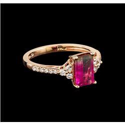 1.39 ctw Tourmaline and Diamond Ring - 14KT Rose Gold