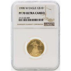 1998-W PF70 Ultra Cameo $10 Gold Eagle