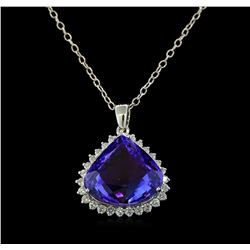 28.05 ctw Tanzanite and Diamond Pendant With Chain - 14KT White Gold