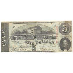 1863 $5 The Confederate States of America Note T-60 CC