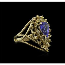 1.67 ctw Tanzanite and Diamond Ring - 14KT Yellow gold