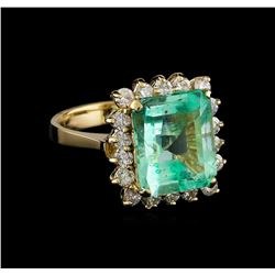 5.48 ctw Emerald and Diamond Ring - 14KT Yellow Gold