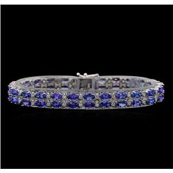 14KT White Gold 11.90 ctw Tanzanite and Diamond Bracelet