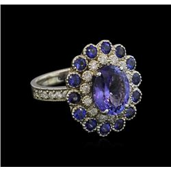 3.36 ctw Tanzanite, Sapphire and Diamond Ring - 14KT White Gold