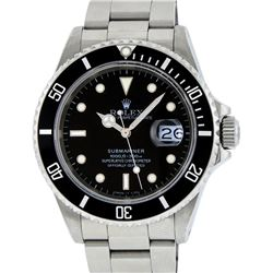 Mens Rolex Stainless Steel Black Dial Date Submariner