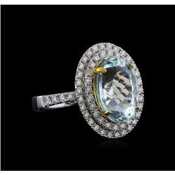 14KT Two-Tone Gold 5.13 ctw Aquamarine and Diamond Ring