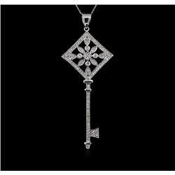 1.05 ctw Diamond Key Pendant With Chain - 14KT White Gold