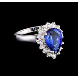 3.24 ctw Tanzanite and Diamond Ring - 14KT White Gold