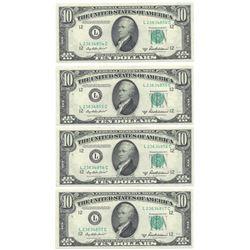 (4)Consecutive 1950-B $10 Federal Reserve Notes