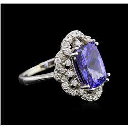 3.67 ctw Tanzanite and Diamond Ring - 14KT White Gold