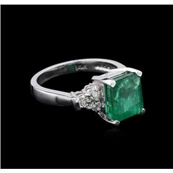 3.23 ctw Emerald and Diamond Ring - 14KT White Gold
