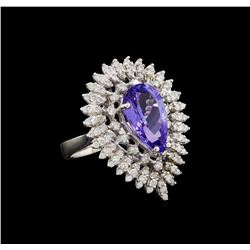 14KT White Gold 4.29 ctw Tanzanite and Diamond Ring