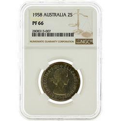 1958 NGC PF66 Australia 2 Schilling