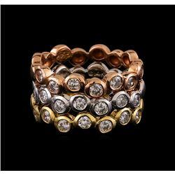 14KT Three-Tone Gold 1.37 ctw Diamond Rings