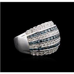 14KT White Gold 1.45 ctw Blue Diamond Ring