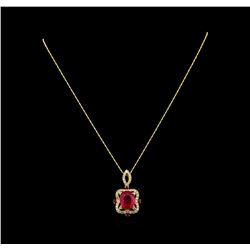 14KT Yellow Gold 7.91 ctw Ruby and Diamond Pendant With Chain