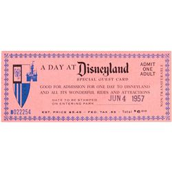 """A Day at Disneyland"" Special Admission Ticket."