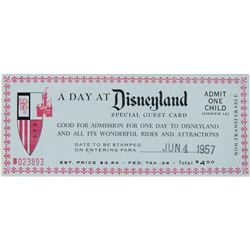 """A Day at Disneyland"" Special Child's Admission Ticket."