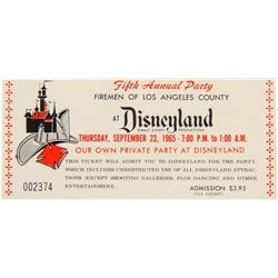 Firemen of Los Angeles County Disneyland Event Ticket.