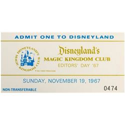 """Disneyland Editor's Day"" Admission Ticket."