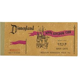 Unused Magic Kingdom Club Child's Disneyland Ticket.