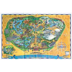 1968 Disneyland Map Signed by Bob Gurr.