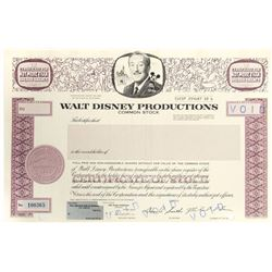 Walt Disney Productions Stock Certificate.