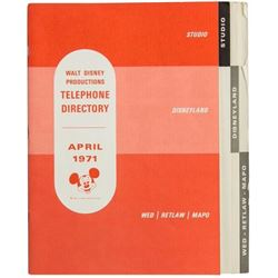 Walt Disney Productions Telephone Directory.
