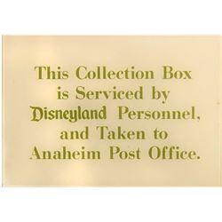 Disneyland Post Office Box Plaque.