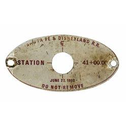 """""""Santa Fe & Disneyland R.R."""" Station Marker."""