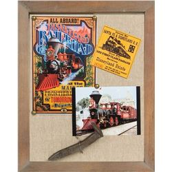 "Framed Spike from the ""Disneyland Railroad""."