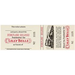 "Lilly Belle Presidential Car ""Disneyland Railroad"" Ticket."