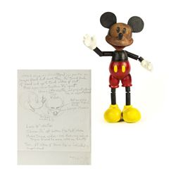Hand-Carved Mickey Figurine Artist's Proof & Drawing.