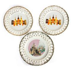 Set of (3) Disneyland Lace Plates.