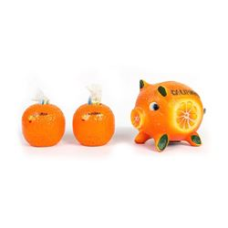 California Orange Piggy Bank & Toothpick Holders.