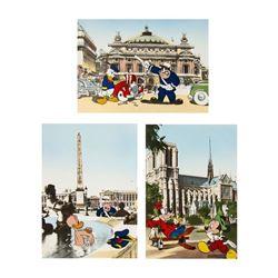 Set of (3) Very Rare French Disneyland Postcards.