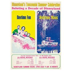 Disneyland's Tencennial Celebration Ticket Poster.