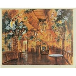 """Enchanted Tiki Room Restaurant"" Concept Art Lithograph."