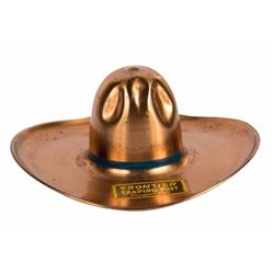 Frontier Trading Post Cowboy Hat Copper Ashtray.