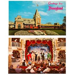 Signed Pair of Disneyland Postcards.