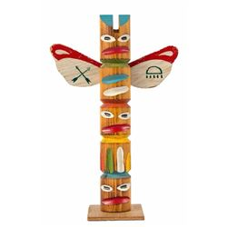 Frontierland Hand-Painted Totem Pole.