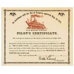 """Mark Twain"" Souvenir Pilot's Certificate."