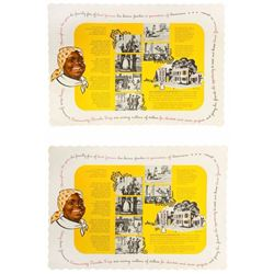 "Pair of ""Aunt Jemima's Kitchen"" Placemats."